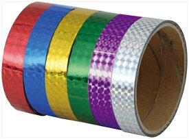 粘着型ホログラムテープ (10本組) 緑、青、紫、金
