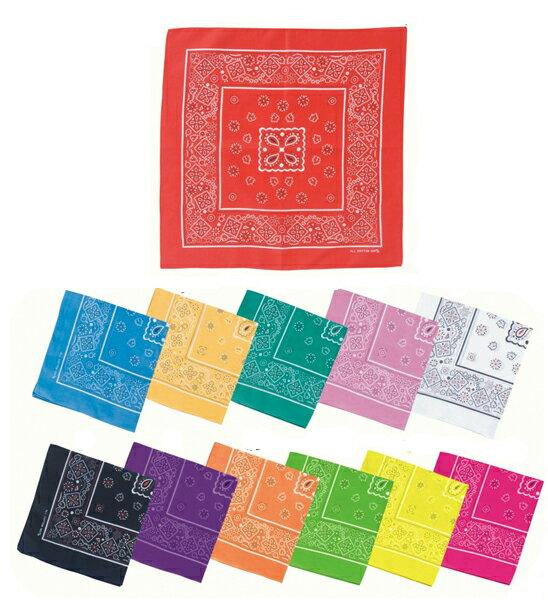 バンダナ 1枚 メール便可 赤、青、黄、緑、桃、白、、黒、紫、オレンジ、紅白