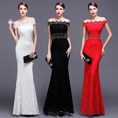 キャバドレス ロングドレス 総レースドレス 欧美styleの総レースデザイン!上品でエレガントなスパン&ビジュデザインロングドレス全3色(黒白赤)