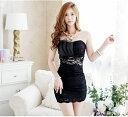 ミニドレス キャバドレス セクシーなフロント透けレースデザイン ミニドレスキャバクラドレス