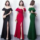 キャバドレスロングドレスキャバドレスエレガントなフリルデザインにセクシーな肩魅せstyle!ストレッチロングドレス全4色
