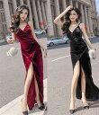 ロングドレス キャバドレス ドレス 今季ベロア生地セクシースリットロングドレス キャバワンピ 全2色