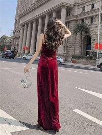 ロングドレスキャバドレスドレス今季ベロア生地セクシースリットロングドレス全2色