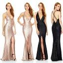 ロングドレス キャバドレス キャバワンピース シックなデザインに煌めく全面スパンコール装飾 セクシー背中魅せデザインストレッチロングドレス 全2色(黒 ベージュ)