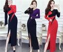 ドレス ロングドレス キャバドレス エレガントなバイカラー配色デザイン セクシースリット ストレッチロングドレス 全3色