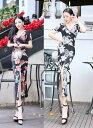 ドレス ロングドレス キャバドレス キャバワンピース 綺麗な花柄デザイン セクシースリットロングドレス 全2色