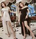 ドレス ロングドレス キャバドレス キャバワンピース sexy肩魅せデザイン胸元クロスデザイン前ミニINロングドレス 全2色
