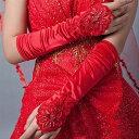 ドレス ロングドレス キャバドレス の必需アイテムパールビーズ&スパンコール装飾デザインサテングローブ フォーマル パーティー 結婚式 全2色(赤 白)
