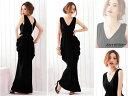 ロングドレス キャバドレス キャバワンピ 欧米スタイル Vネックデザイン ドレープロングドレス全4色(黒 青 赤 ワイン)