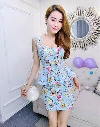 ミニドレスキャバドレスキャバワンピ綺麗な和花柄デザイントップス&スカートセットミニドレス2ピースドレス全2色