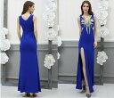 ロングドレス キャバドレス パーティードレス大きなサイズ(XLサイズ)豪華な胸元スパンコール装飾&金糸刺繍デザイン ストレッチロングドレス 大きいサイズのロングドレス
