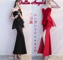 ロングドレス キャバドレス キャバワンピ エレガントなフロントメッシュレースフリルデザイン セクシースリットロングドレス 全2色(黒 赤)