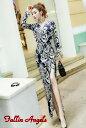 セレブ感漂うバロック柄デザイン ロングドレス キャバドレス ドレス セクシースリットデザイン ストレッチロングドレス