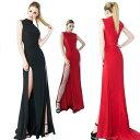 大きなサイズ(XLサイズ)ドレス ロングドレス キャバドレス 深めのWスリットがセクシーなシックなデザインストレッチロングドレス フォーマルドレス パーティードレス