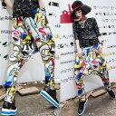 サルエルパンツ ダンス衣装 DANCEファッション HIPHOP系 ストリート系 インパクトあり!幾多柄プリントサルエルパンツ ボトム