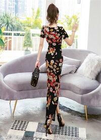 ロングドレスキャバドレスキャバワンピエレガントな和花柄デザインセクシースリットストレッチロングドレス全3色(ブラックレッドホワイト)発表会パーティードレス