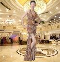 ドレス ロングドレス キャバドレス 女豹デザインセクシースリットロングドレス レオパ柄 アニマル柄 ヒョウ柄