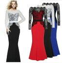 大きなサイズ(XXLサイズ)ロングドレス キャバドレス ドレス パーティードレス 長袖レース切替 欧米風ストレッチロングドレス
