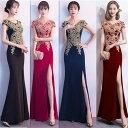 大きなサイズ(XXLサイズ)ロングドレス キャバドレス ドレス パーティードレス エレガントな胸元金糸刺繍デザイン&セクシースリットロングドレス