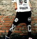 サルエルパンツ ダンス衣装 DANCEファッション HIPHOP系 ストリート系 インパクトあり!英字プリントサルエルパンツ ボトム パンツ