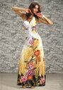 ロングドレス キャバドレス ドレス 綺麗で華やかな和柄デザインにエレガントな胸元ビジュ装飾Aラインストレッチロングドレス キャバクラドレス フォーマルドレス