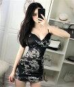 キャバドレス ミニドレス セクシーでカッコイイドラゴンプリントデザインストレッチタイトミニドレス