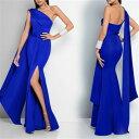 大きなサイズ(XLサイズ)ロングドレス キャバドレス キャバワンピ シックなデザインセクシーなスリット&ワンショルダーデザイン ストレッチロングドレス