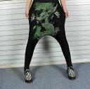 サルエルパンツ ダンス衣装 DANCEファッション HIPHOP系 ストリート系 インパクトあり!ドラゴンプリントサルエルパンツ ボトム