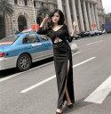 ロングドレス キャバドレス キャバワンピ セクシーな胸元スピンドル&フロント魅せデザイン ストレッチロングドレス