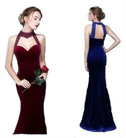 01285200064d2 ロングドレス キャバドレス ワンピース 豪華なビジュ装飾デザイン ベロア生地フレアーロングドレス フォーマル