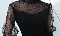 ロングドレスキャバドレスオシャレなドット長袖レース切替にセクシーな美脚魅せ肩魅せデザインスリットデザインロングドレスナイトワークフォーマルパーティーにAラインストレッチロングドレスパーティードレスフォーマルドレス