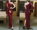 ロングドレス キャバドレス ドレス シックでシンプルなデザインにセクシーな肩魅せワンショルダーデザイン ストレッチロングドレス