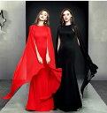 ロングドレス キャバドレス エレガントで上品な シフォンフリルデザイン ストレッチロングドレスパーティードレス フォーマルドレス