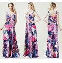 大きなサイズ(XXXLサイズ)ロング キャバドレス ドレス 綺麗で華やかな水彩画風花柄デザイン リゾート風ワンピース キャバクラドレス フォーマルドレス 大きいサイズのドレス