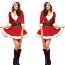 サンタ衣装 コスプレ クリスマス衣装 クリスマスイベントの必需アイテム クリスマス/キュートなフード付きワンピースサンタ衣装セット ベルト付 キャバクラ
