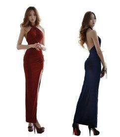 ドレス ロングドレス キャバドレス シックなデザインにセクシーなスリットデザイン ストレッチロングドレス キャバクラドレス ラウンジドレス 全2色