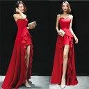 ロングドレス キャバドレス キャバワンピ セクシーなスリットデザインにゴージャスなフリルデザイン ストレッチロングドレス