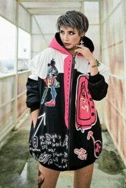 アウター ジャケット ブルゾン ダウンジャケット ダンスファッション ストリート系ファッション インパクトあり!ダンサー必見!プリントデザイン フード付きアウター HOPHOP系ファッション 個性派ファッション