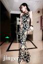 エレガントな王宮柄風デザイン欧米スタイル ストレッチロングドレス キャバドレス フォーマルドレス パーティードレス ストレッチドレス