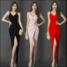 ロングドレス キャバドレス キャバワンピ 深めのセクシースリットデザインストレッチロングドレス 全3色(ブラック レッド ピンク)
