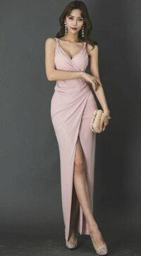 ロングドレスキャバドレスキャバワンピ深めのセクシースリットデザインストレッチロングドレス全3色(ブラックレッドピンク)