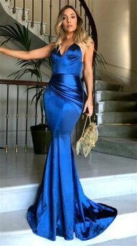 ロングドレスキャバドレスドレスエレガントな欧米スタイルのマーメイドライン光沢生地フレアーロングドレスフォーマルドレスパーティードレス