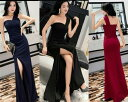 ロングドレス キャバドレス キャバワンピ シックなデザインセクシーなワンショルダースタイル ストレッチロングドレス