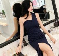 ロングドレスキャバドレスキャバワンピシックなデザインセクシーなワンショルダースタイルストレッチロングドレス