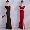 ロングドレス キャバドレス キャバワンピ 肩魅せデザインセクシーなスリットデザインスタイル ストレッチロングドレス 全2色(黒 赤)