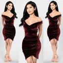 大きなサイズ(XLサイズ) ミニドレス キャバドレス ドレス  エレガントな胸元クロスデザイン ベロア生地ストレッチミニドレス 大きいサイズ