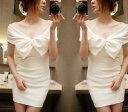 ミニドレス キャバドレス キャバワンピ エレガントでキュートな胸元フリルデザイン ストレッチタイトミニドレス