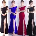 ドレス ロングドレス キャバドレス 斜めショルダー肩魅せセクシーデザインストレッチロングドレス フォーマルドレ…