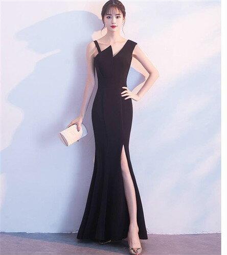 ドレス ロングドレス キャバドレス 深めのスリットがセクシーなシックなデザインストレッチロングドレス フォーマルドレス パーティードレス全3色(黒 赤 ネイビー)