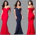ロングドレス キャバドレス キャバワンピ シックなデザインにセクシーな肩魅せデザイン ストレッチロングドレス 全2色